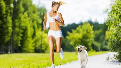 Утренняя пробежка с собакой по парку
