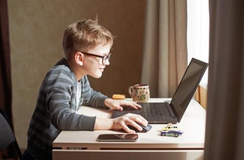 Ребёнок играет в игру за ноутбуком