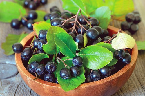 Чёрная рябина с листьями в деревянной посуде на столе
