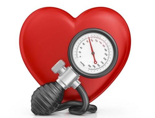 Символ сердца и тонометр на белом фоне